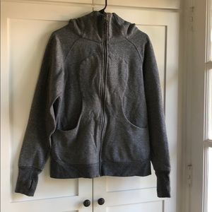 Lululemon scuba hoodie heathered black gray sz 10